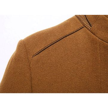 Winter Thicken Wool Mid Long Business Casual Trench Coat Slim Fit Jacket for Men