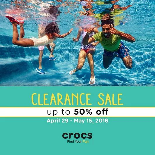 CROCS Philippines brings you a NATIONWIDE CLEARANCE SALE!  Get up to 50% OFF on selected items starting from April 29 to May 15, 2016 at any participating Crocs concept and outlet stores nationwide!  Visit your nearest Crocs Store and enjoy SALE items!  http://mypromo.com.ph/