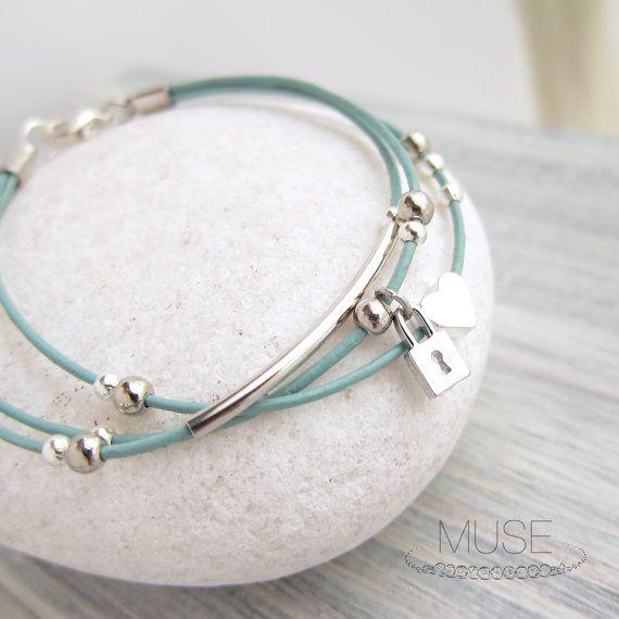 Silver Charm Leather Bracelet  Layered Bracelet Charm by MuseByLAM, $24.00