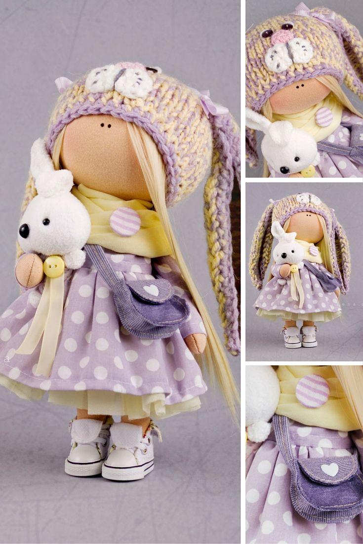 Nursery decor doll Tilda doll Interior doll Art doll blondeFabric doll Cloth doll by Master Alena Raduga