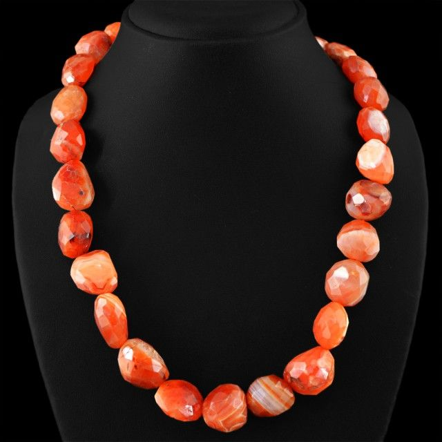 Genuine 750.00 Cts Untreated Orange Agate Beads Necklace FASHIONABLE BEAD NECKLACE
