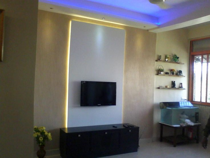 Backlit Tv Panel With White La Living Room Tv Wall Living Room Tv Tv Wall