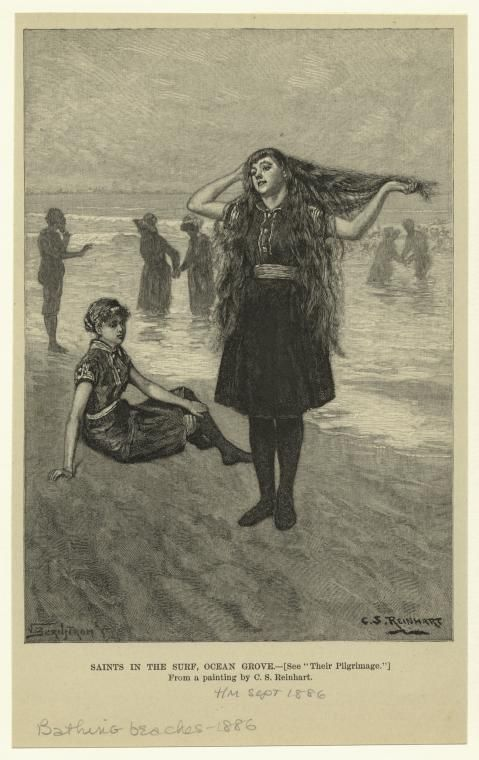 """Saints in the surf, Ocean Grove.  Creator(s): Reinhart, Charles Stanley, 1844-1896 -- Artist  Bernstrom, Victor, 1845-1907 -- Engraver  """"See 'Their pilgrimage.'"""" """"From a painting by C.S. Reinhart."""" Sept. 1886. From Harper's magazine."""