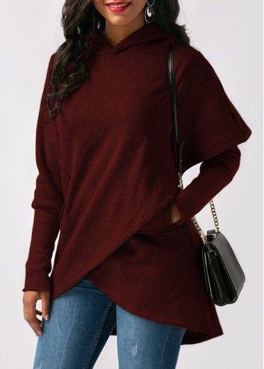 Wine Red Asymmetric Hem Long Sleeve Pocket Hoodie.