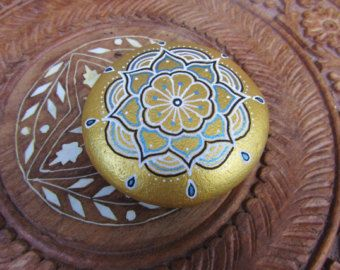 Hand painted mandala stone, Reiki infused