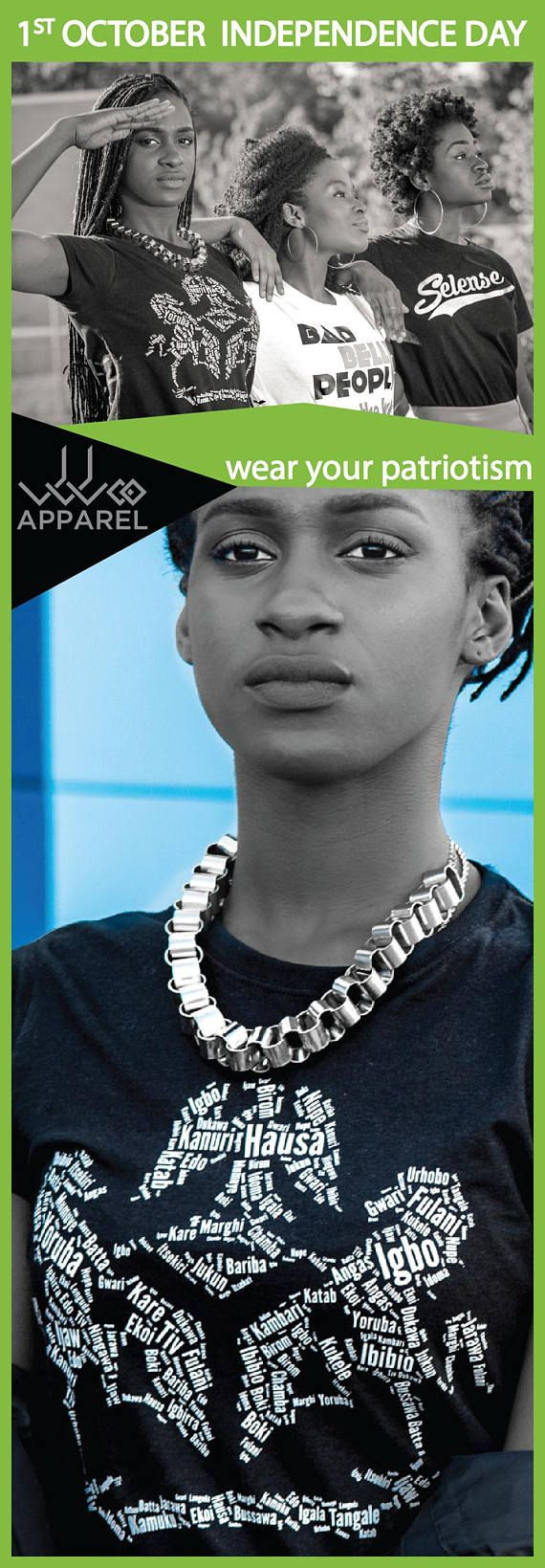 Show your Naija pride by wearing the Nigeria Coat of Arms word cloud shirt. It is a great shirt to wear on Nigeria Independence Day or to a Nigeria Independence day party. Available also in green and white if you want to also dress in Nigeria's color.