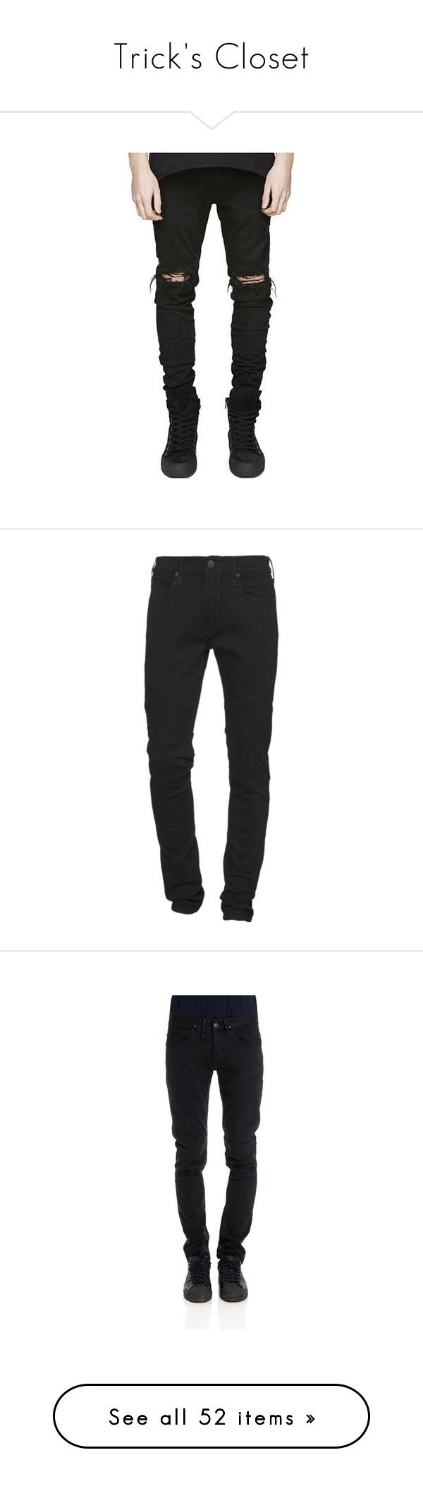 """Trick's Closet"" by trickrichie ❤ liked on Polyvore featuring men's fashion, men's clothing, men's jeans, mens distressed jeans, mens destroyed jeans, mens frayed jeans, mens ripped jeans, mens torn jeans, men and mens slim cut jeans"