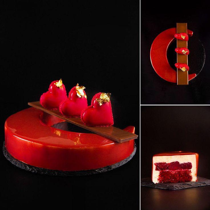 """For my Valentine! Entremen """"Moonlight Sonata"""". Composition: """"red velvet"""" sponge cake; cherry confit with tonka bean; lemon-lime mousse with white chocolate. Chocolate decoration. ---- Торт """"Лунная соната"""". Состав: бисквит """"красный бархат"""" вишневон конфи с бобами тонка; лимонно-лаймовый мусс с белым шоколадом. А сейчас будет просто нокаут... Эти шоколадные сердца затемперировала разлила по формам сделала """"шоколадный дождик"""" (перевернула форму чтобы вытекло все лишнее)... Моя шестилетняя дочь…"""