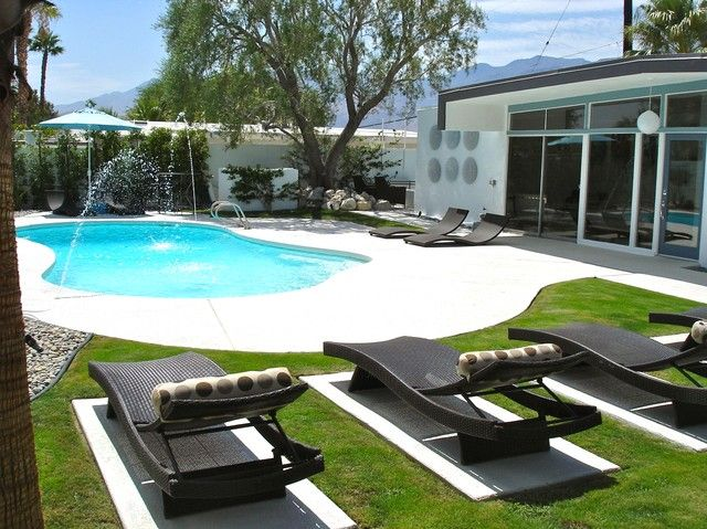 Resort style yard with salt water pool & luxury chaises secluded privacy behind walls - Modern Mid-Century Wexler, Private Walled Retreat -  - rentals