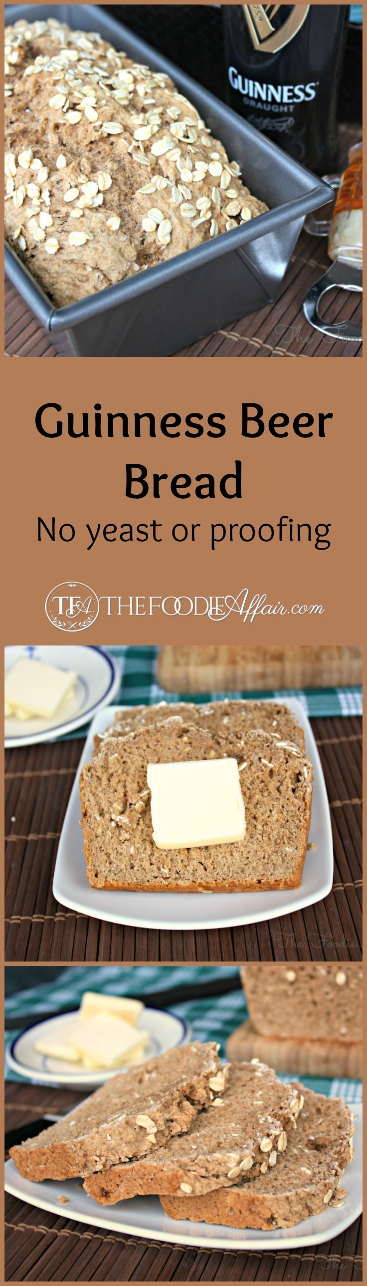 Guinness Beer Bread, a delicious simple quick bread can be baked in under an hour. Fill your house with the wonderful aroma of baking bread! The Foodie Affair #stpatricksday #bread #guinness