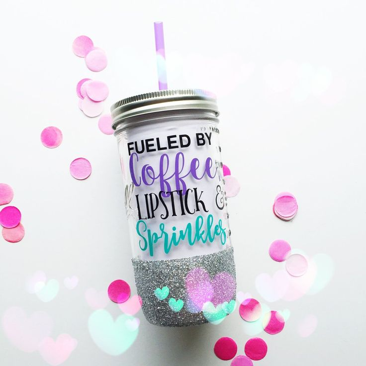 Fueled by Coffee, Lipstick, and Sprinkles /// Mason Jar Tumbler /// Glitter Tumbler