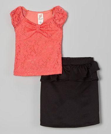Coral Lace Top & Black Peplum Skirt - Toddler & Girls #zulily #zulilyfinds