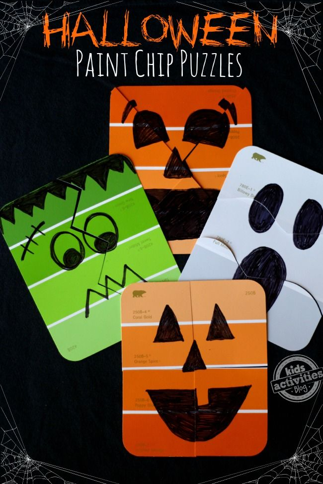Don't throw away those old paint swatches - save them to make these simple Halloween games.
