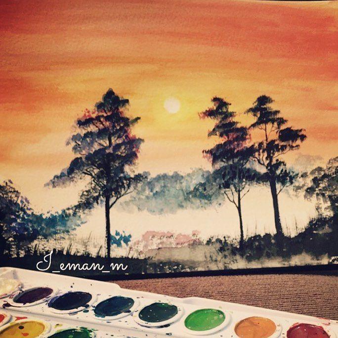 غروب الشمس خربشاات ايمان رسم رسمي رسامين العرب هوايتي الوان مائية كلنا رسامين رسمتي كلن Resim