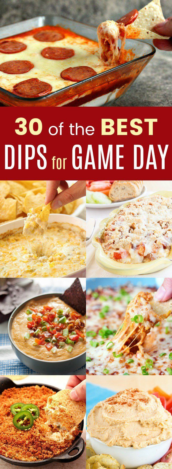 30 of the Best Dips for Game Day - ooey gooey hot cheese dip recipes, healthy hummus, hot or cold, dips for veggies, chips, and more, here are all the appetizers and snacks you need for your big game party! #dip #diprecipe #biggame #gameday #biggameparty #gamedaymenu #hotdip #hummus #football #footballfood