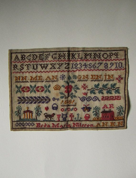 Antique NEEDLEPOINT Sampler dated 1881 - 100% Authentic on Etsy, $400.00