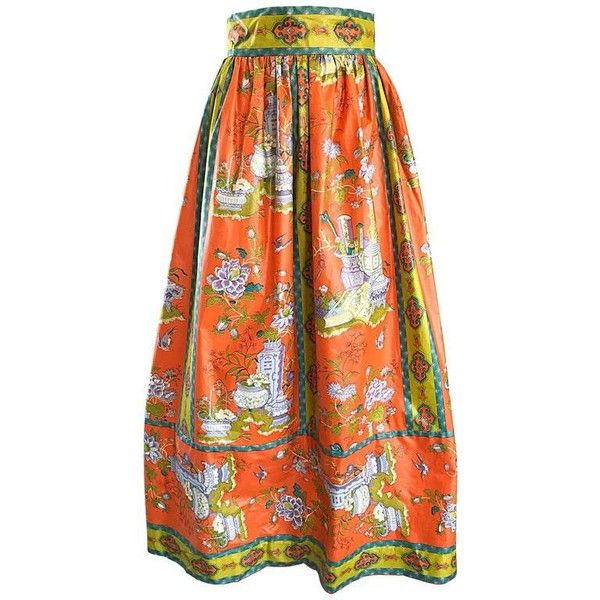 Preowned Rare 1970s Oriental Asian Themed Waxed Cotton Orange Vintage... ($795) ❤ liked on Polyvore featuring skirts, orange, vintage skirts, long vintage skirts, patterned maxi skirt, long skirts and ankle length skirts