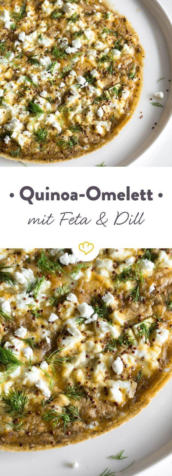 Omelett zum Feierabend? Na klar! Mit Quinoa und Feta verfeinert ist diese herzhafte Eierspeise schnell zubereitet. Dill sorgt für extra Frische!