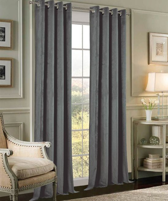 Graphite Velvet Extra-Wide Curtain Panel - Set of Two