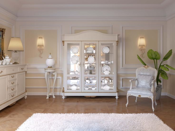 Argentiera tre ante in finitura laccata bianca e foglia oro #madeinitaly #handmade #wood