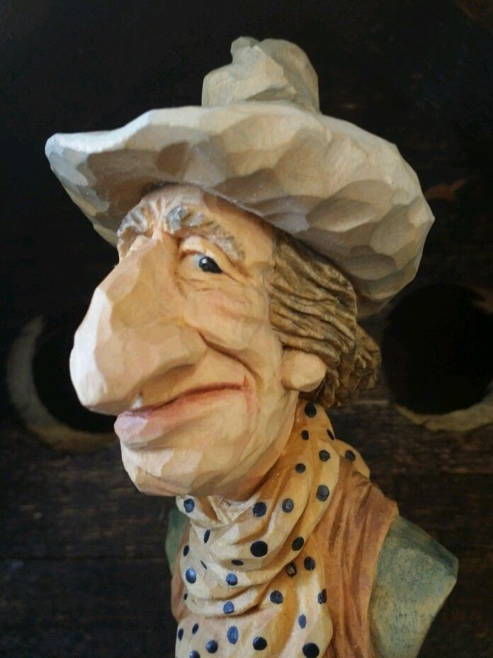 """A close up of """" Spense """", carved by Caricature Carvers of America member Pete LeClair."""