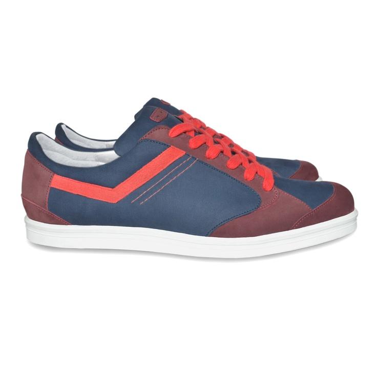 Zapatillas Jacques & Démeter Azul marino, granate y rojo. Fabricados en Francia y a mano.