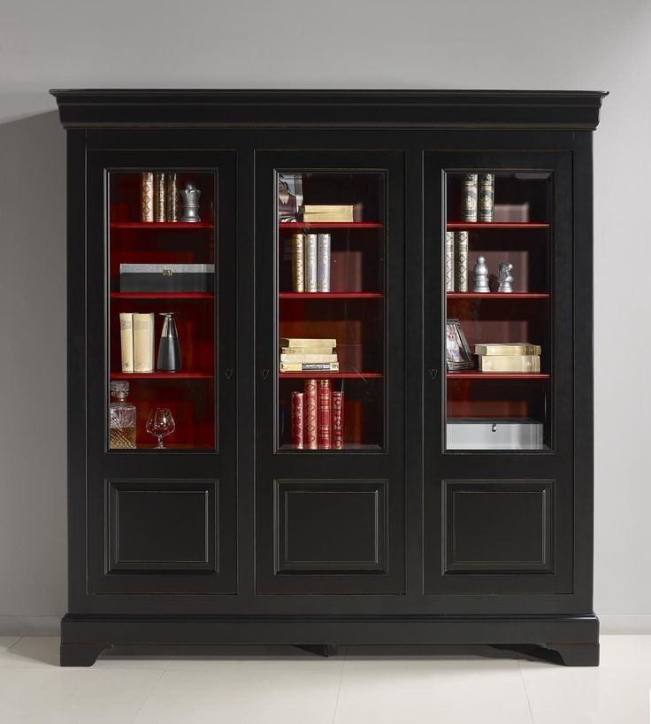 Bibliotheque 3 Portes Flore Realisee En Merisier Massif De Style Louis Philippe Patine Noir Et Rouge Meuble En Merisier Mobilier De Salon Relooking Armoire