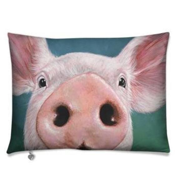 Piggy Art Throw Pillow 22x16 Luxurious High Quality Etsy Animal Wall Art Nursery Animal Pillows Quality Pillows