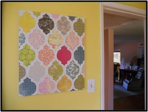 scrapbook paper/stencil/canvas = diy cool wall art @ DIY Home Ideas