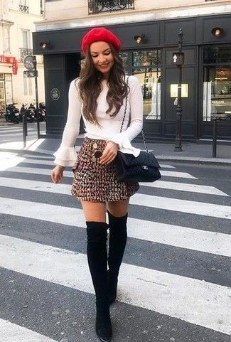 white long sleeve blouse with ruffles, dark red tweed mini skirt, black suede over the knee boots, black