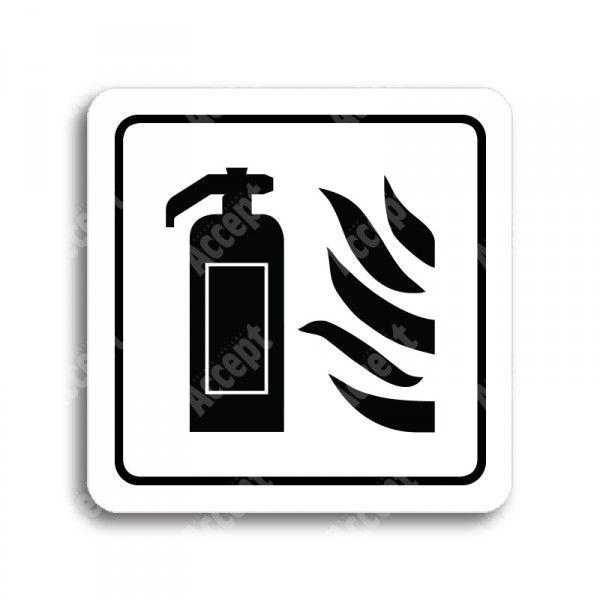 """Piktogram """"hasicí přístroj"""" - bílá tabulka - černý tisk"""