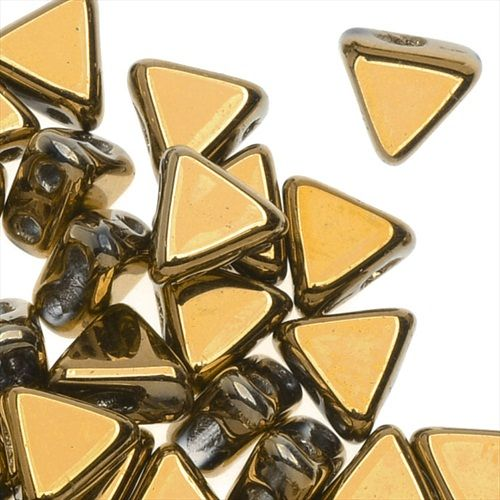 CZECH GLASS KHEOPS PAR PUCA 2 HOLE TRIANGLE BEADS 6MM 9 GRAMS FULL DORADO from beadaholique.com