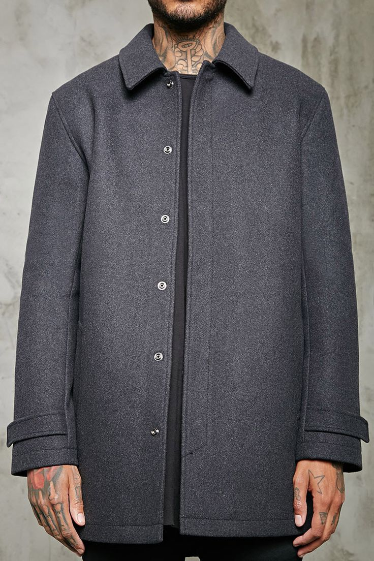 Snap-Button Wool-Blend Topcoat