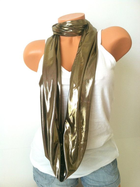 Gorgeous gold, just in time for the holidays! Gold Infinity Scarf  Silky Shiny Gold Scarf Winter by mizzeztee, $20.00