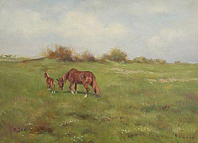 Zygmunt JÓZEFCZYK (1881-1966)  Konie na pastwisku olej, tektura; 36,5 x 49 cm;