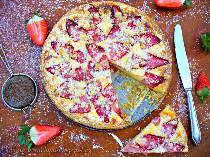 Křehký špaldový koláč s tvarohem a jahodami (od 1 roku)