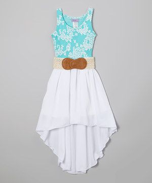 This Maya Fashion Blue & White Floral Belted Hi-Low Dress - Girls by Maya Fashion is perfect! #zulilyfinds