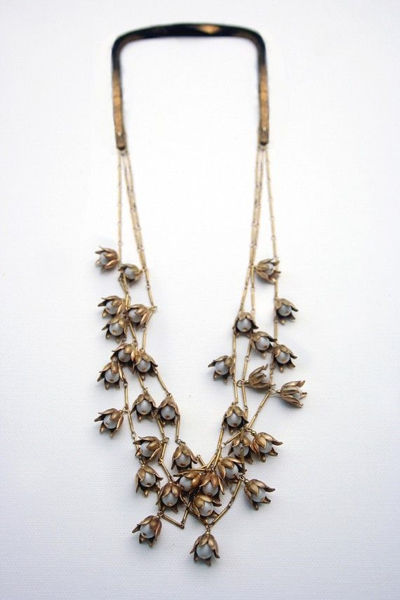 VINTAGE LILY VALLEY  BAR CHAIN NECKLACE  MULTI by BABETTEjewelry, $125.00