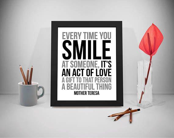 Smile Printable Quotes Gift Sayings Mother Teresa Print Art
