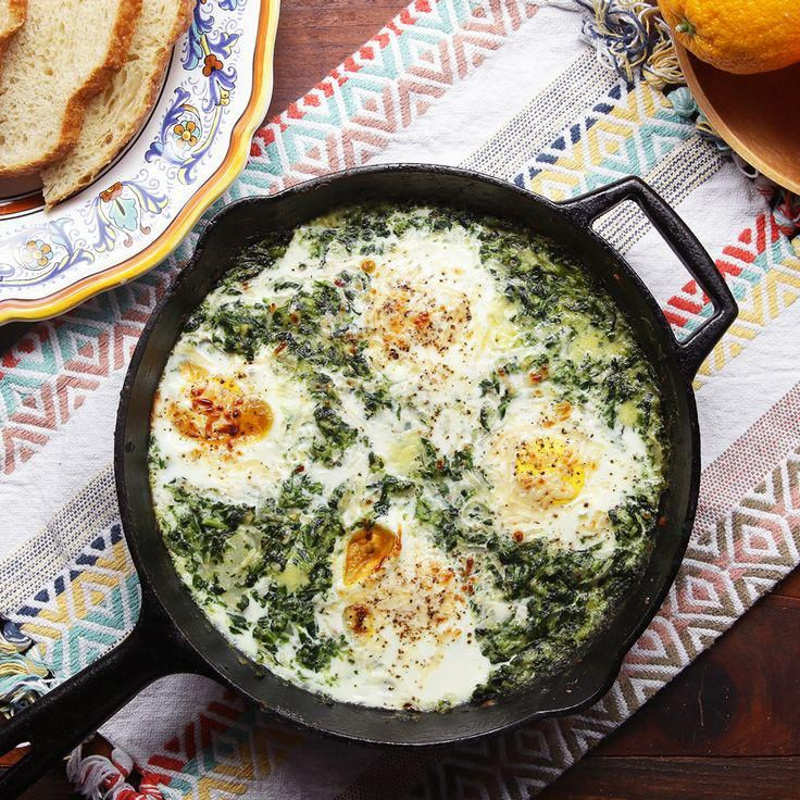 Spinach And Eggs Breakfast, Spinach Egg, Egg Recipes For Breakfast, Creamy Spinach, Dinner Recipes, Brunch Recipes, Breakfast Cooking, Breakfast Ideas, Shawarma