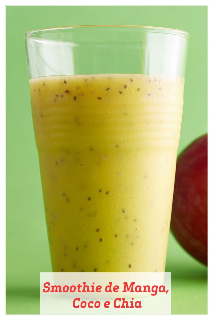 Este smoothie inspirado nos trópicos vem lotado de vitamina C e também de uma boa dose de potássio. Sementes de chia são ricas em fibras e ácidos graxos ômega-3 e dão uma textura que faz o smoothie lembrar chá de bolhas, ou bubble tea.