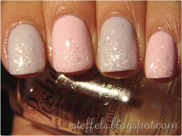 Alternating bases of China Glaze Light as Air and Something Sweet. Then I added a gradient with Snow Angel.