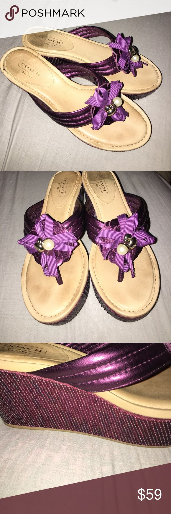 "Coach ""Janis"" 6.5 Purple Wedge Sandals Beautiful Coach 6.5 Purple Sparkling Wedge Sandals Coach Shoes Sandals"