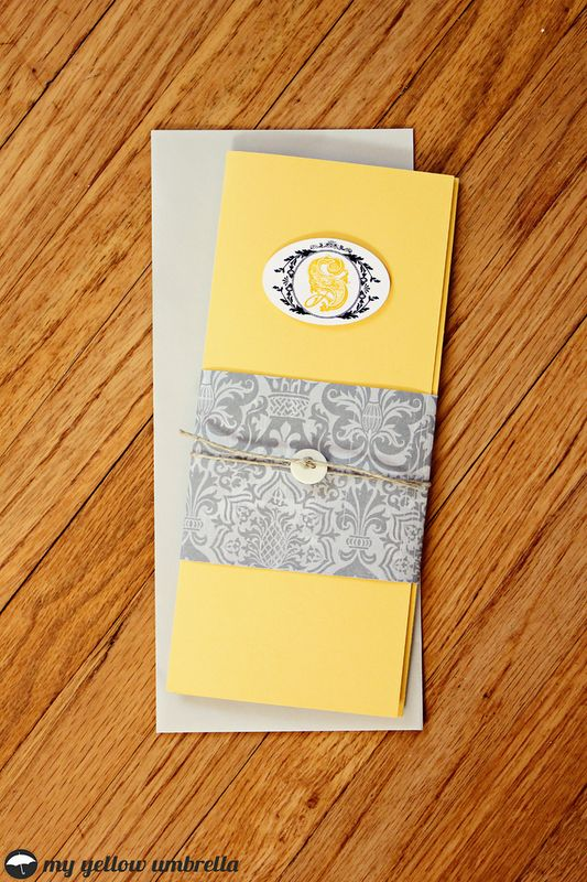 I like the idea of these. Seems like a reasonable project. I could combine this design with the Cricut design for a unique touch. DIY Wedding Invitations | My Yellow Umbrella