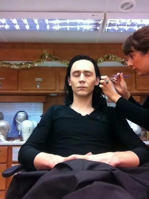 Tom getting his makeup done to complete his Loki look for Thor 2