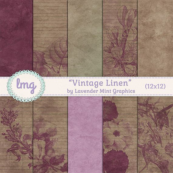 Vintage Linen Shabby Chic Digital Paper by LavenderMintGraphics