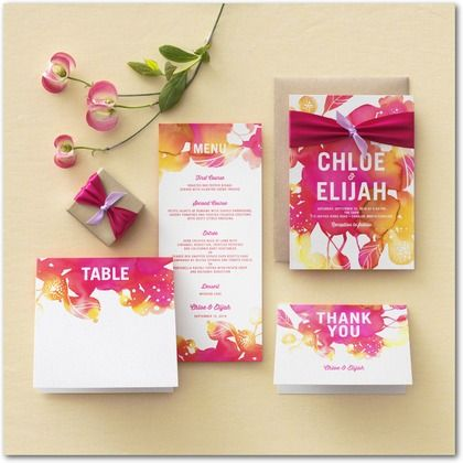 Blooming Together - Signature White Textured Wedding Invitations - Stina Persson - Fuchsia - Pink : Front