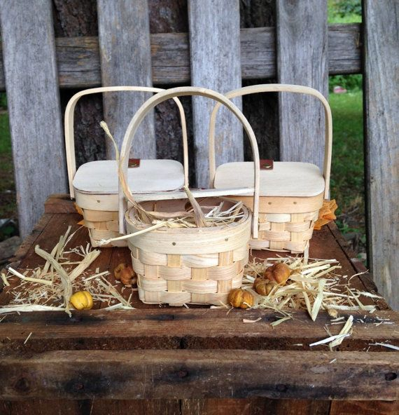 Country Party Favors Basket Mini Picnic Baskets Hay Decor