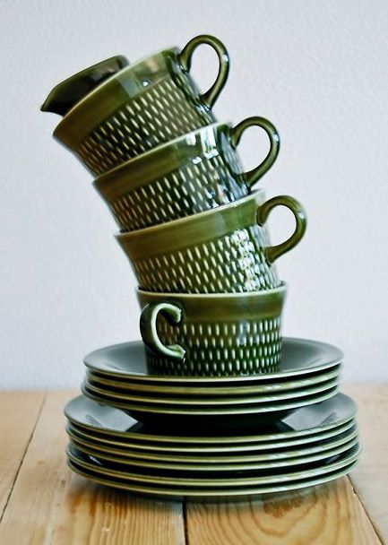 Mid Century incised green retro tea set – Stavangerflint, made in Norway Old & Cold etsy