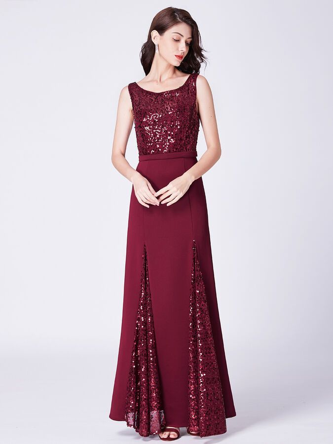 Ever-Pretty Womens Elegant A Line Sleeveless Sequin Top Long Evening Dresses 07401